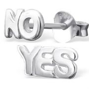 Sterling Silver Stud Earrings - Yes / No